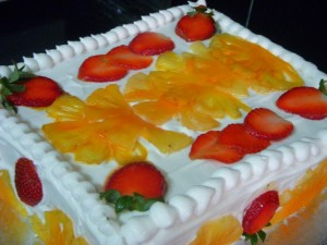 Fresh Pineapple and Strawberry Cake