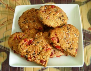 Oats, cranberry, and choco chip cookies
