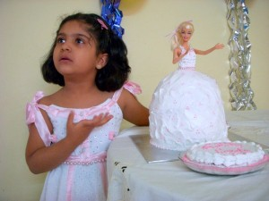 Princess with Barbie Cake
